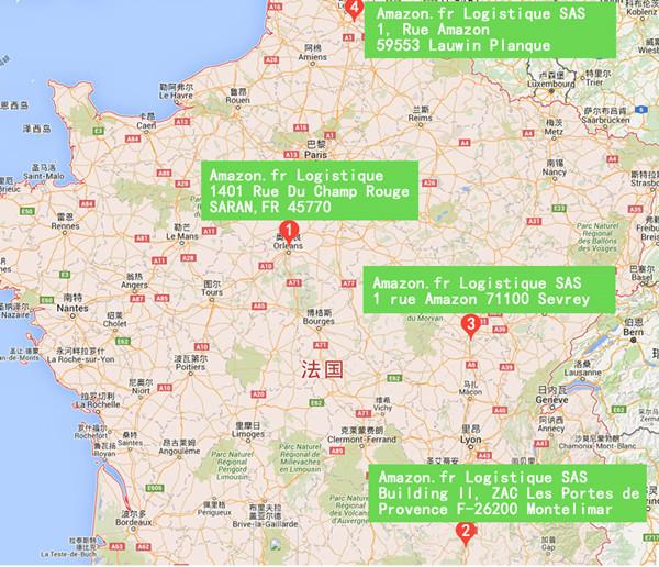 (亚马逊法国仓库地图)