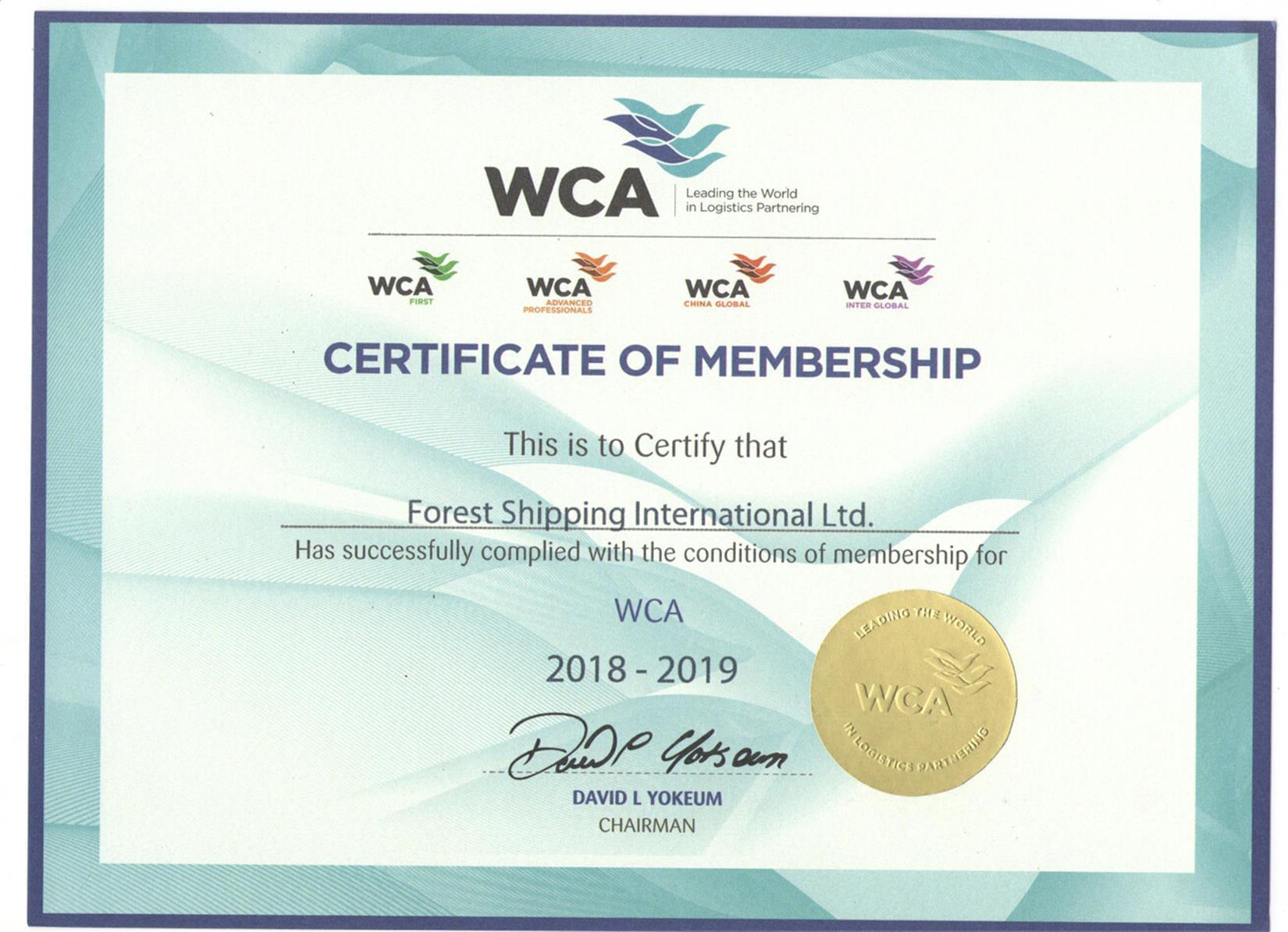 WCA 世界货物运输联盟会员证书